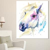 Designart 'Horse Illustration with Splash' Extra Large Animal Artwork