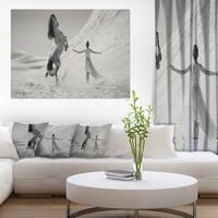 Designart 'Woman with Majestic Horse' Extra Large Animal Artwork - Grey/white