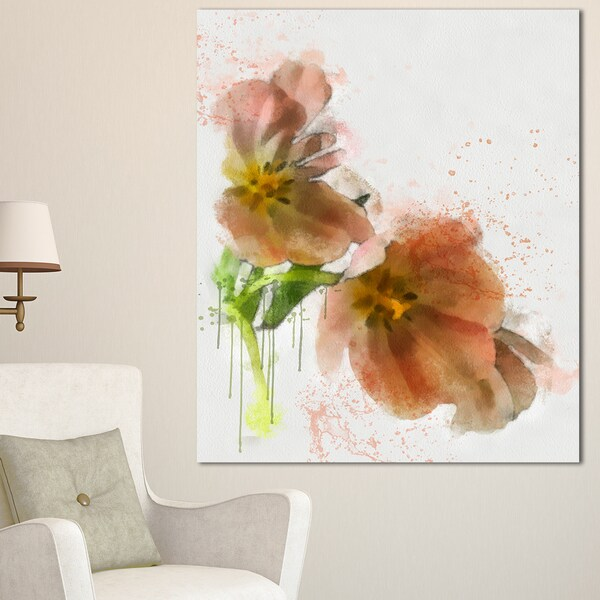 Designart brown tulips sketch watercolor modern floral canvas wall