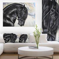 Designart 'Friesian Horse Painting' Extra Large Animal Artwork - Black