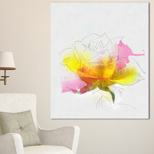 Designart yellow pink rose sketch watercolor modern floral canvas