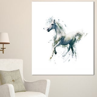 Designart 'White Horse in Motion on White' Large Animal Art on Canvas