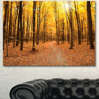 Designart 'Yellow Treetops in Fall Forest' Modern Forest Canvas Art