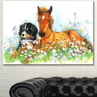 Designart 'Relaxing Brown Cute Horse' Extra Large Animal Artwork