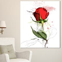 Designart 'Red Rose Hand-drawn Illustration ' Modern Floral Canvas Wall Art - Red