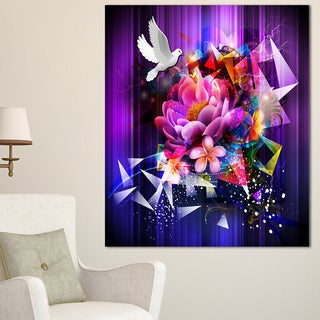 Designart 'Abstract Floral Design with Dove' Floral Wall Artwork on Canvas - Purple