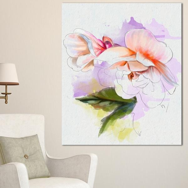 Designart u0026#x27;White Begonia Flower Watercoloru0026#x27; Modern Floral Canvas Wall & Shop Designart u0027White Begonia Flower Watercoloru0027 Modern Floral ...