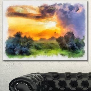 Designart 'Beautiful Landscape Watercolor' Landscape Canvas Wall Art