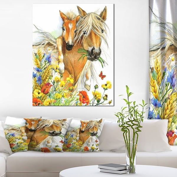 Designart 'Horse and Foal with Flowers' Extra Large Animal Artwork - YELLOW