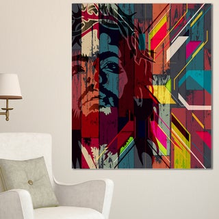 Designart 'Jesus over Abstract Wooden Design' Large Abstract Canvas Art