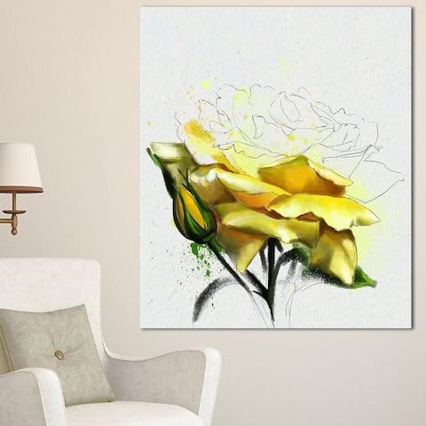Designart 'Yellow Rose Illustration Watercolor' Modern Floral Canvas Wall Art - Yellow