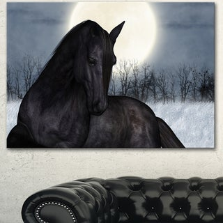 Designart 'Black Horse in Moonlight' Extra Large Animal Artwork