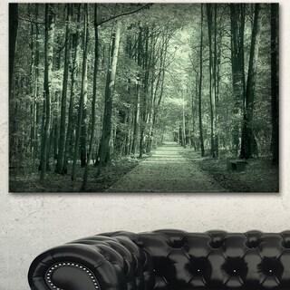 Designart 'Road in Dark Autumn Forest' Modern Forest Canvas Art