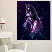 Designart 'Purple Abstract Horse' Large Animal Art on Canvas - Purple