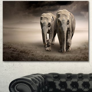 Designart 'Elephant Pair in Motion' Large Animal Art on Canvas