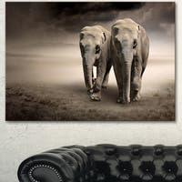 Designart 'Elephant Pair in Motion' Large Animal Art on Canvas