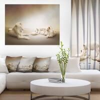 Designart 'White Lion Family ' Large Animal Art on Canvas