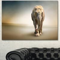 Designart 'Smart Elephant Walking' Large Animal Art on Canvas
