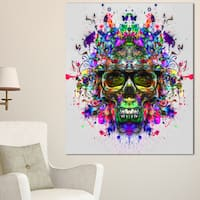 Designart 'Skull with Glasses and Paint Splashes' Abstract Wall Art Canvas