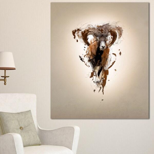 Designart 'Mouflon Abstract Walking' Large Animal Art on Canvas