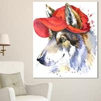 Designart 'Wolf with Red Cap Illustration ' Large Animal Art on Canvas