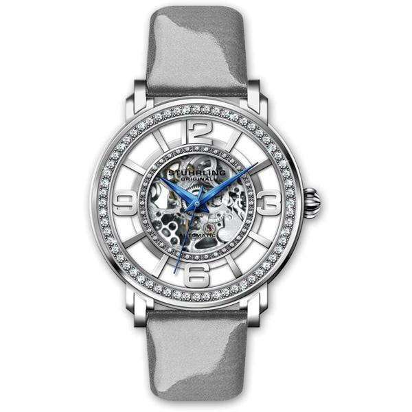 Stuhrling Original Women's Automatic Skeleton Gray Leather Strap Watch