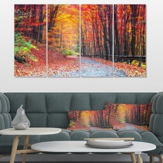 Designart 'Road in Beautiful Autumn Forest' Modern Forest Canvas Art
