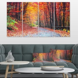 Designart 'Road in Beautiful Autumn Forest' Modern Forest Canvas Art - multi
