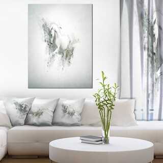 Designart 'Graceful White Horse' Large Animal Art on Canvas
