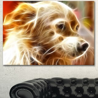 Designart 'Glowing Brown Dog Head' Large Animal Art on Canvas