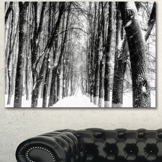 Designart 'Snowy Forest Black and White' Modern Forest Canvas Art