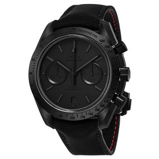 Omega Men's 311.92.44.51.01.005 'Speedmaster Moonwatch' Black Dial Black Nylon Strap Swiss Automatic Watch