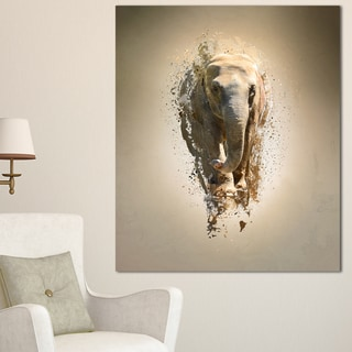 Designart 'Mammoth Elephant Walking' Large Animal Art on Canvas