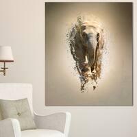 Designart 'Mammoth Elephant Walking' Large Animal Art on Canvas