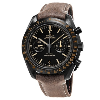 Omega Men's 311.92.44.51.01.006 'Speedmaster Moonwatch' Black Dial Brown Vintage Leather Strap Chronograph Swiss Automaitc Watch