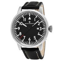 Revue Thommen Men's  'Air Speed' Black Dial Black Leather Strap Swiss Automatic Watch