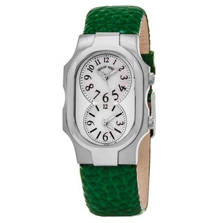 Philp Stein Women's 1-NFMOP-CGG 'Signature' Mother of Pearl Dial Green Leather Strap Dual Time Swiss Quartz Watch
