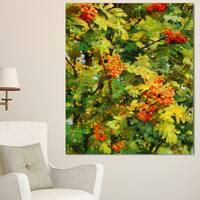Designart 'Floral Pattern with Palette Knife' Flower Artwork on Canvas - Green