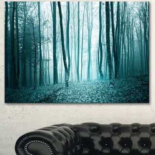Designart 'Turquoise Colored Magic Forest' Modern Forest Canvas Art