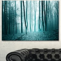 Designart 'Turquoise Colored Magic Forest' Modern Forest Canvas Art - Blue
