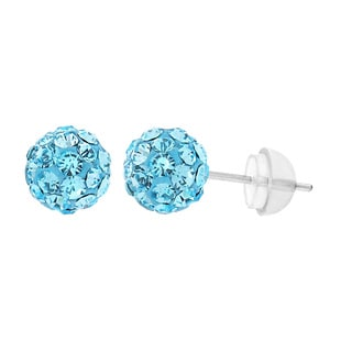 18k White Goldplated Sterling Silver Blue Crystal Girls' Earrings