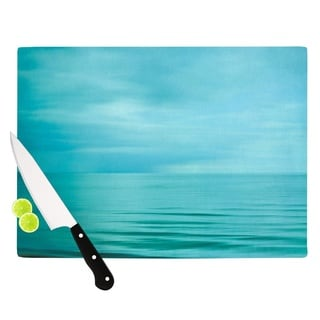 Kess InHouse Iris Lehnhardt 'Calm Sea' Blue and Teal Tempered Glass Cutting Board