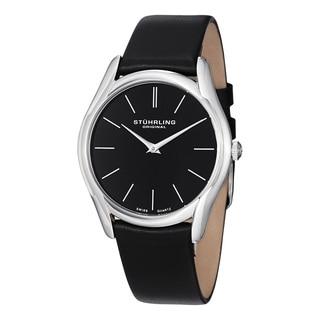 Stuhrling Original Men's Swiss Quartz Symphony Black Leather Stainless Steel Strap Watch