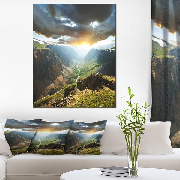 Designart 'Clouds Touching Mountains At Sunset' Oversized Landscape Canvas Art - Green