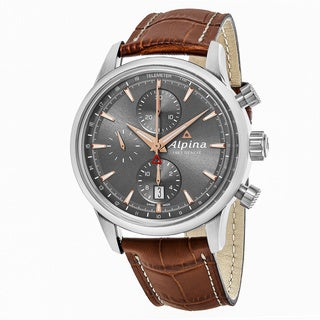 Alpina Men's 'Alpiner' Grey Dial Brown Leather Strap Chronograph Swiss Automatic Watch