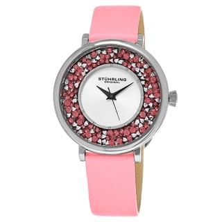 Stuhrling Original Women's Quartz Vogue Pink Satin/Leather Strap Watch