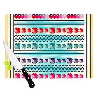 KESS InHouse Famenxt 'Love Pattern' Teal Yellow Cutting Board