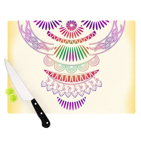 KESS InHouse Famenxt 'Decorative Ornament' Yellow Multicolor Cutting Board