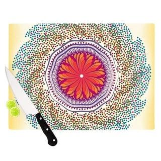 KESS InHouse Famenxt 'Confetti Dots Mandala' Multicolor Abstract Cutting Board