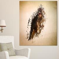 Designart 'Abstract Falcon in Flight' Large Animal Art on Canvas